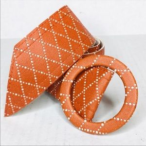 3/$50 Vintage vegan orange adjustable belt L XL 1X